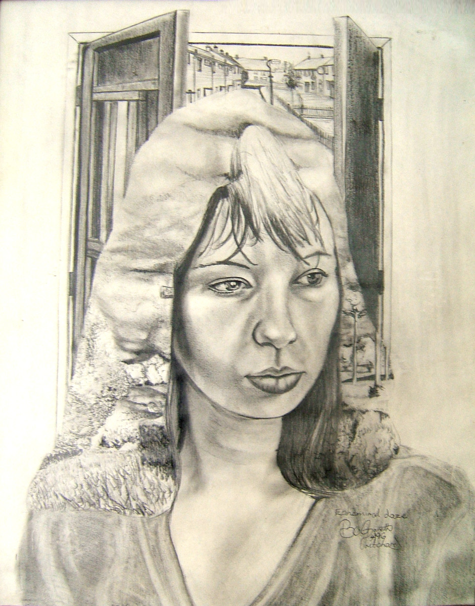 A pencil drawing using HB, 2B and 4B pencils on cartridge paper it incorporates tonal modeling, hatching and line tone techniques in the over all image.