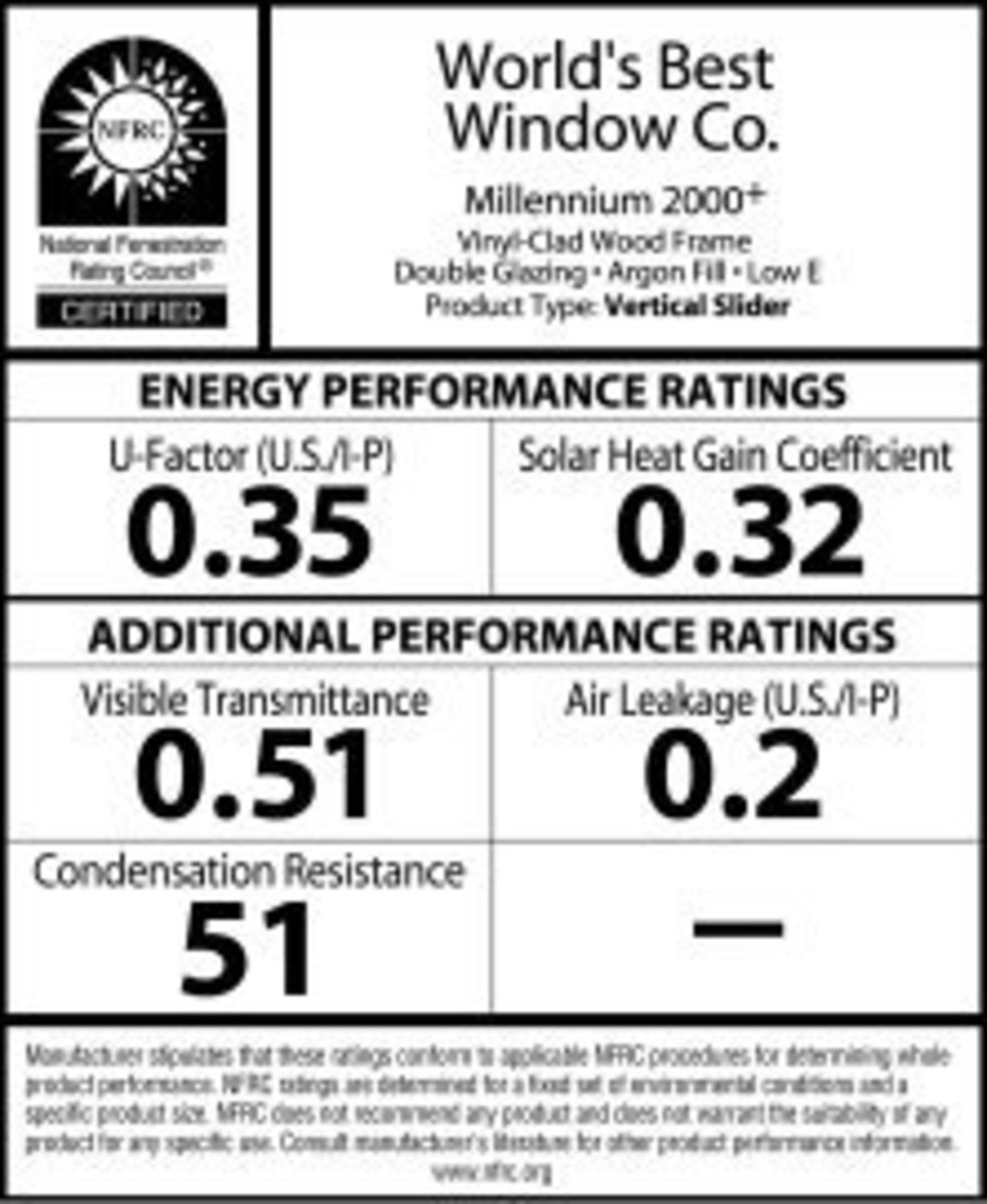 The standard NFRC label attached to every new window