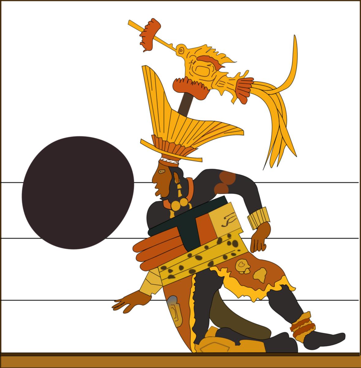 A Mayan vase depicting a ballplayer.