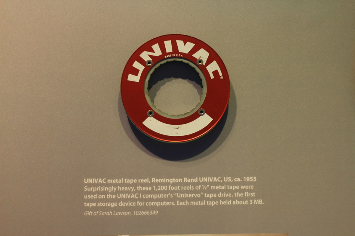 This is a UNIVAC I metal tape from 1955 that could store 3MB of data.