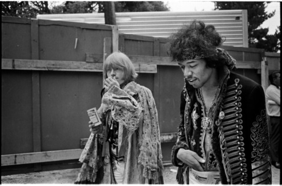 Brian and Jimi Hendrix at Monterey Pop