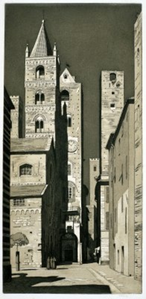 Clock Tower San Gimignano - etching