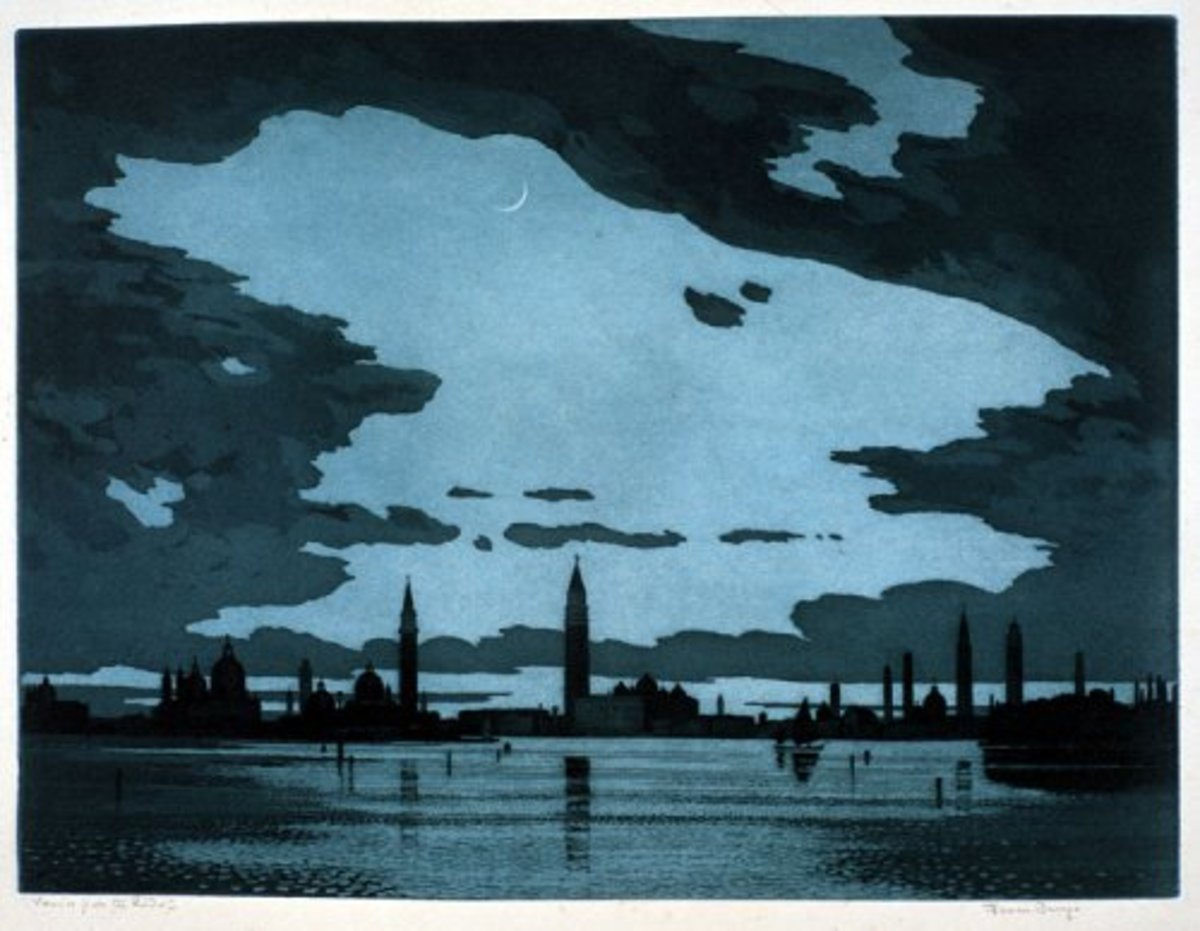 Venice from the Lido - etching
