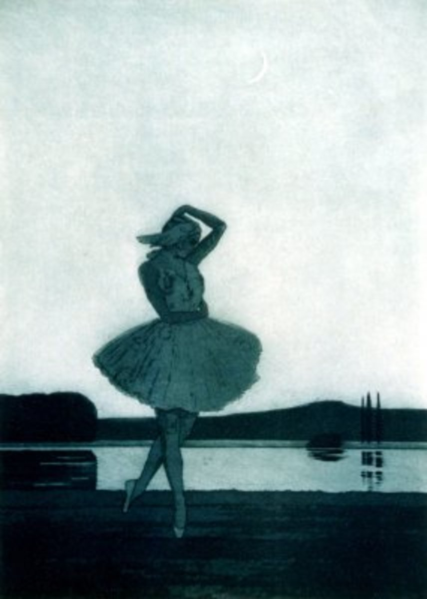 Ballet Dancer, Swan Lake - etching