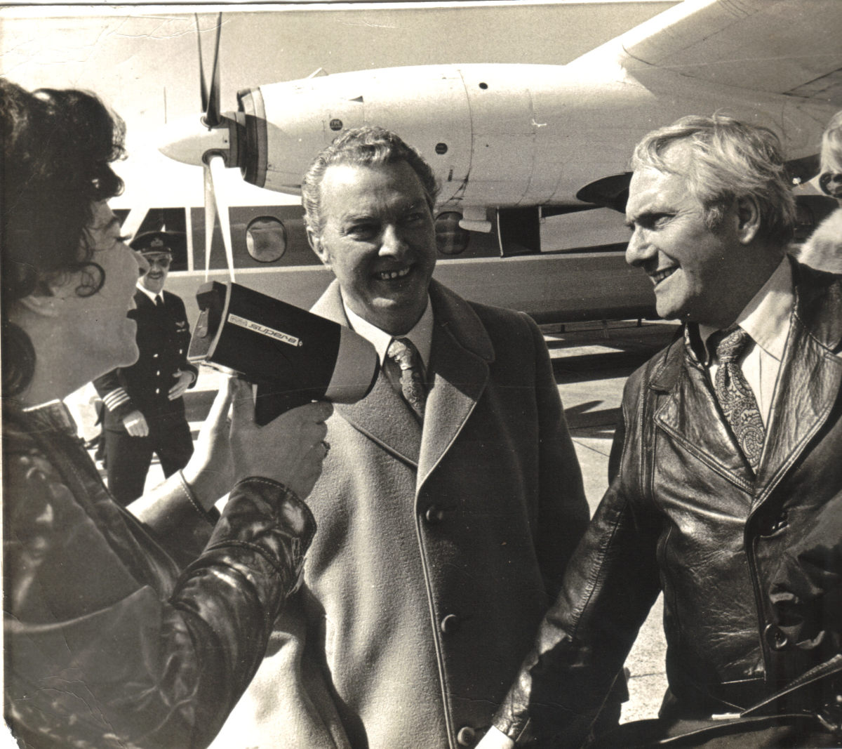 Mary and Sydney greet Dick Emery upon his arrival.