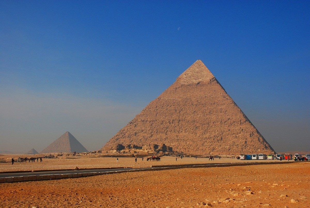 Although many Egyptian pyramids are formed of cut stone as pictured, some others were made of sun-hardened adobe-like bricks made with straw, as seen in the film The Ten Commandments.