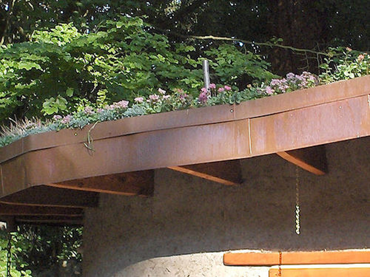 Living roof on a cob house.