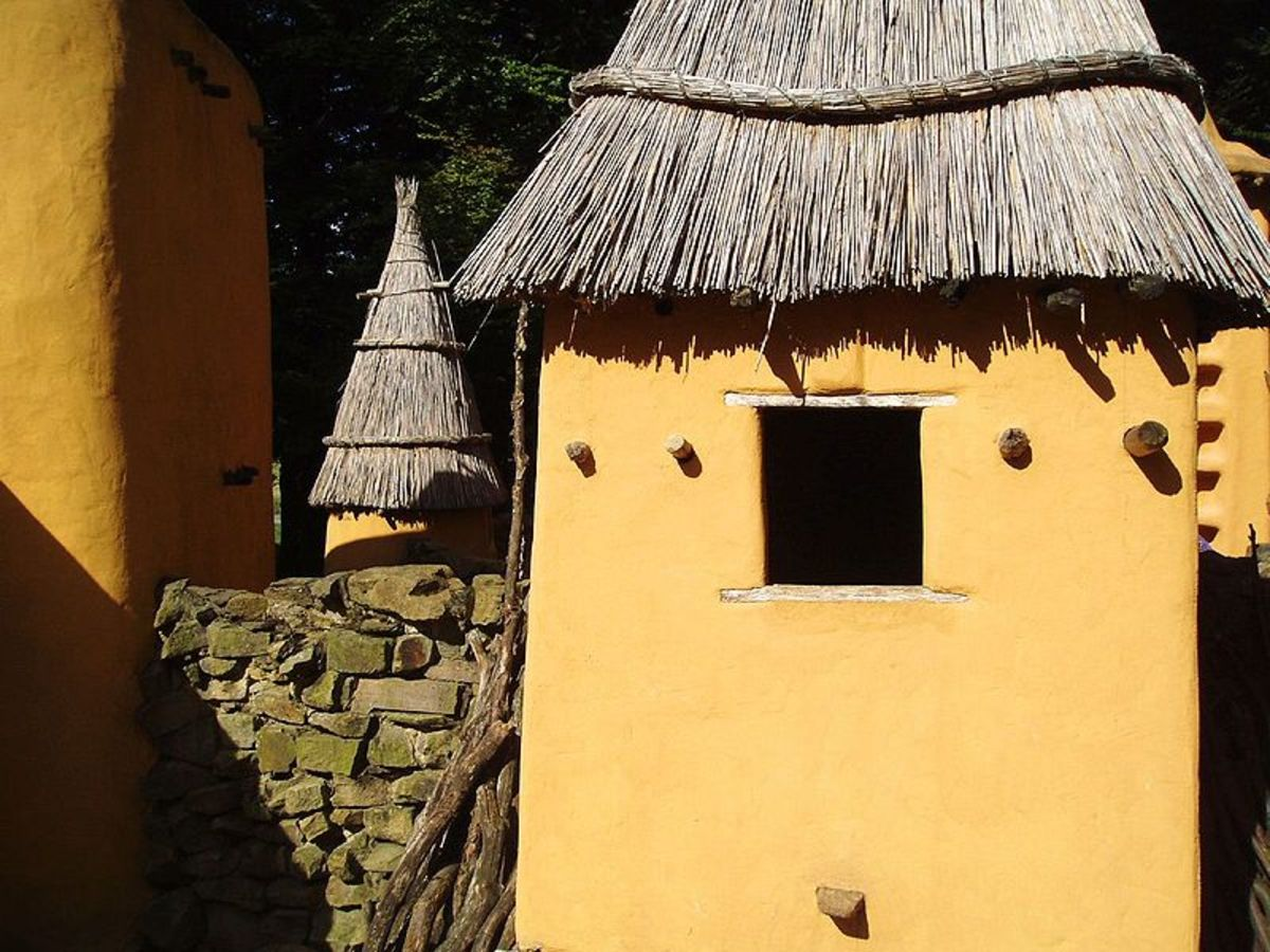 Dogon cob houses and thatched roof in Mali.