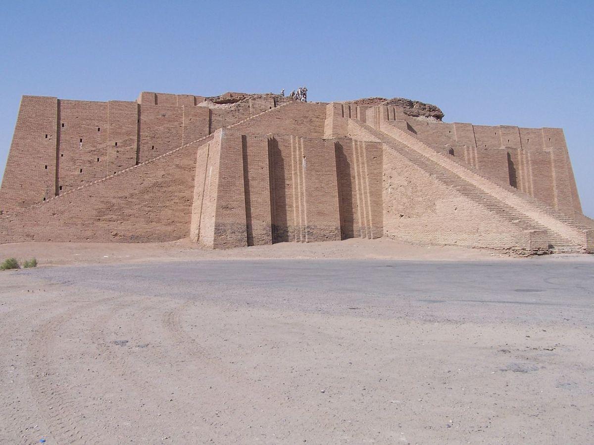 Ziggurat of Ur, made of mud bricks backed with burnt bricks.