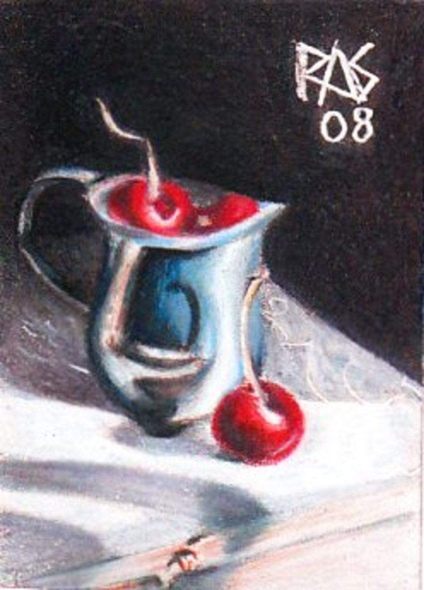 Silver and Cherries by Robert A. Sloan from Cherries #3, a reference photo available at WetCanvas.com