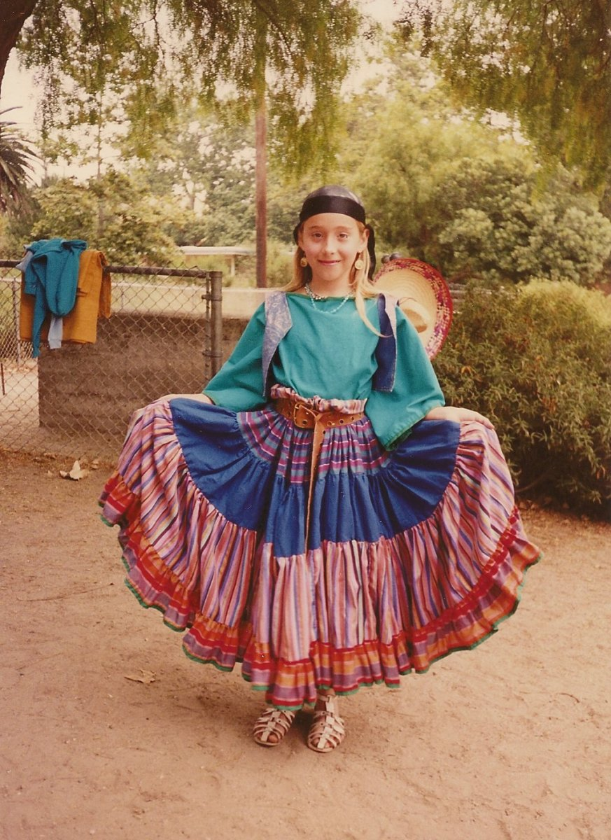 My older daughter in her gypsy skirt.