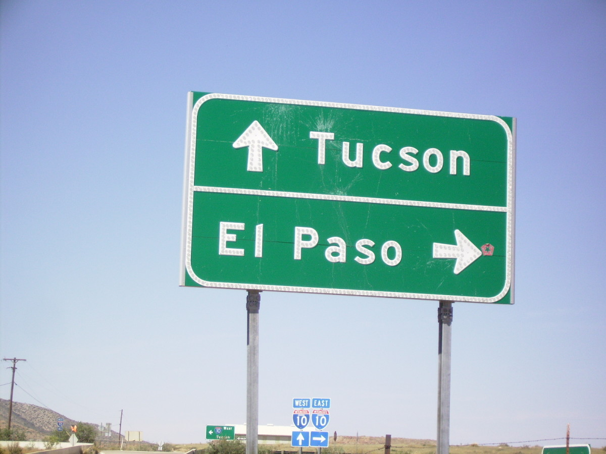 Tucson and El Paso, two of the bigger cities that the Texas Canyon rest stop on I-10 lies between.