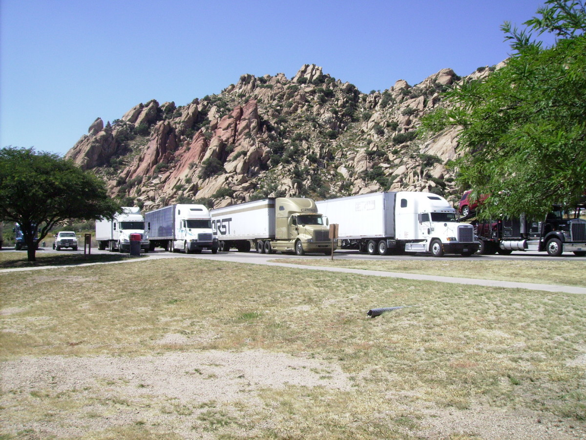Texas Canyon rest stop is a popular rest stop for truck drivers as they travel between Atlanta and Los Angles along I-10 the major East-West route along the southern border of the United States.