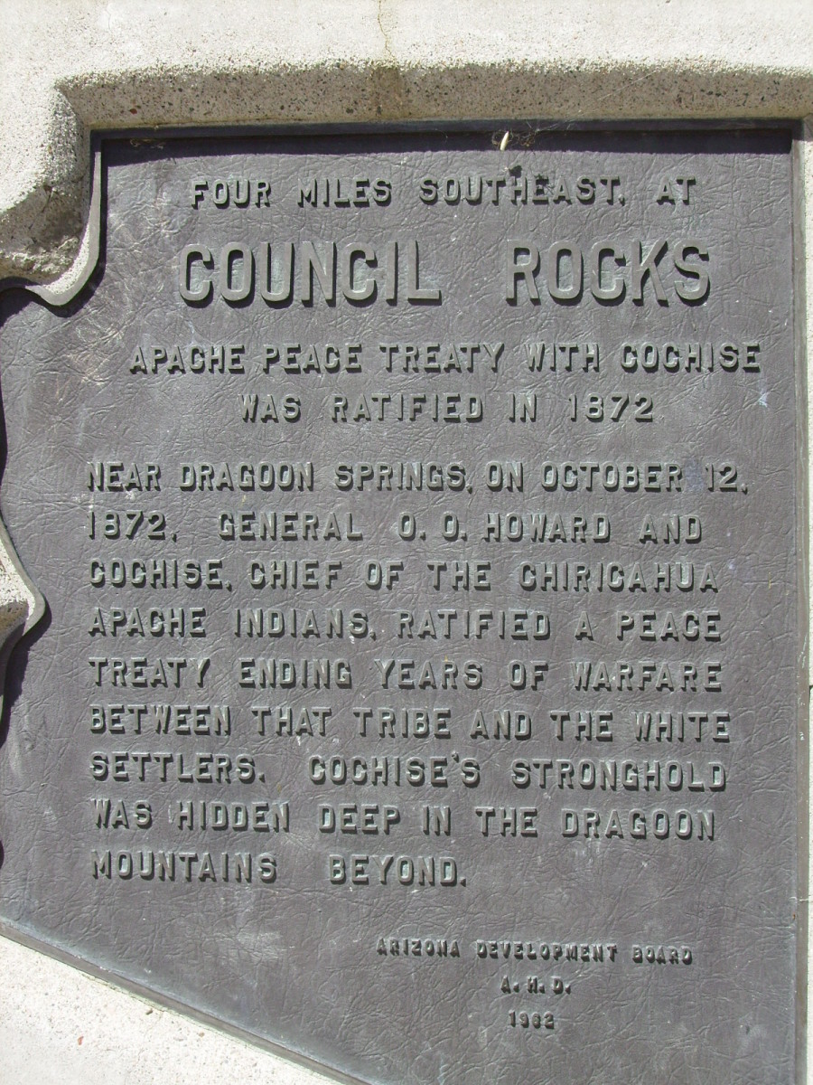 Historical Marker in Texas Canyon rest stop in Arizona, commemorating 1872 Council Rocks Peace Treaty with Chiricahua Apache Chief, Cochise.
