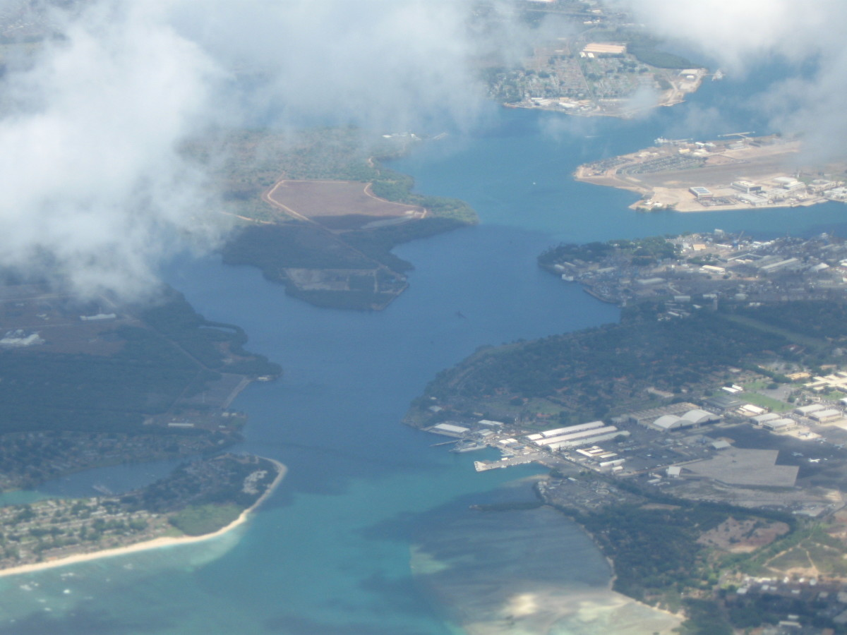 Aerial View of entrance to Pearl Harbor, Hawaii