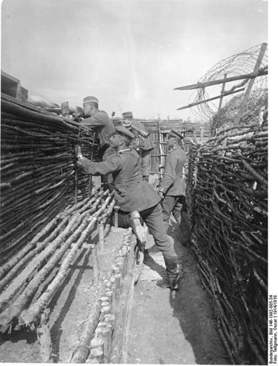 """German troops on the first """"Stand too"""" of the day."""