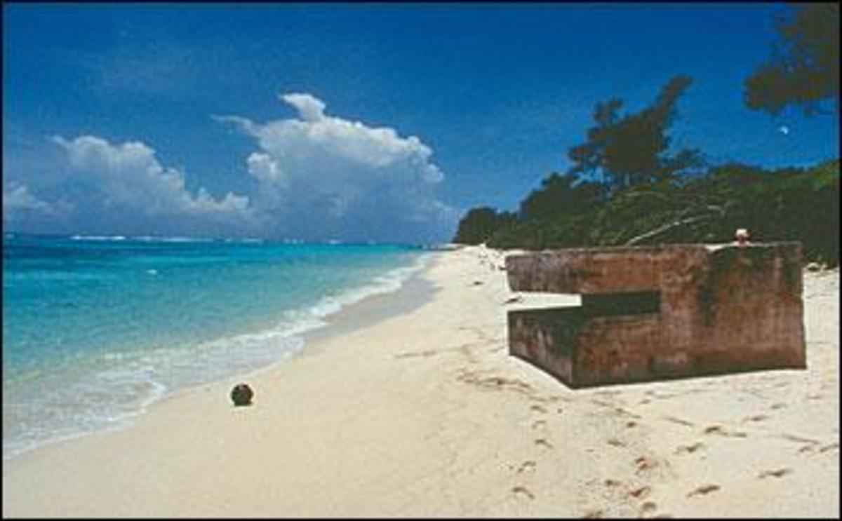 World War II bunker on beach on Midway Island. (photo courtesy of National Park Service - see link in links section below)