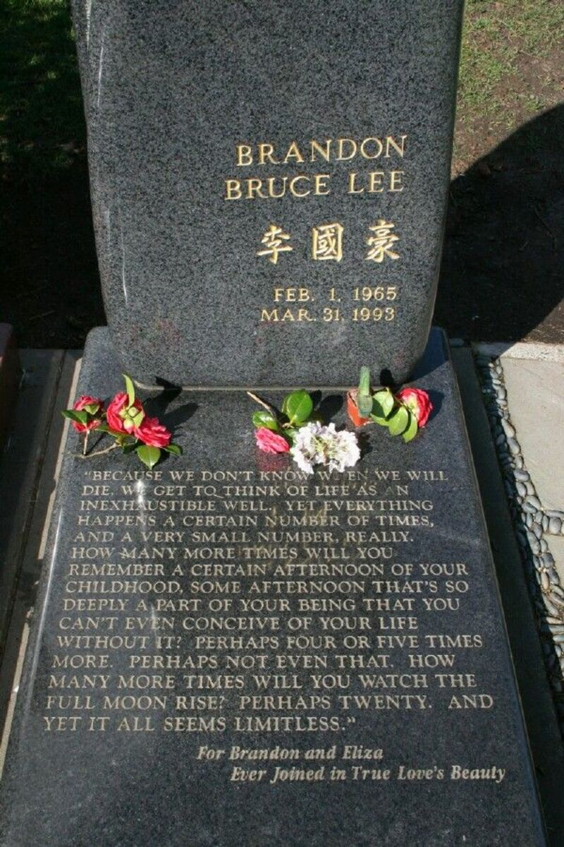 Brandon Lee Grave , People often find Brandon setting on his grave marker setting on the writing and they ask him to move so they can read it. He vanishes and they run