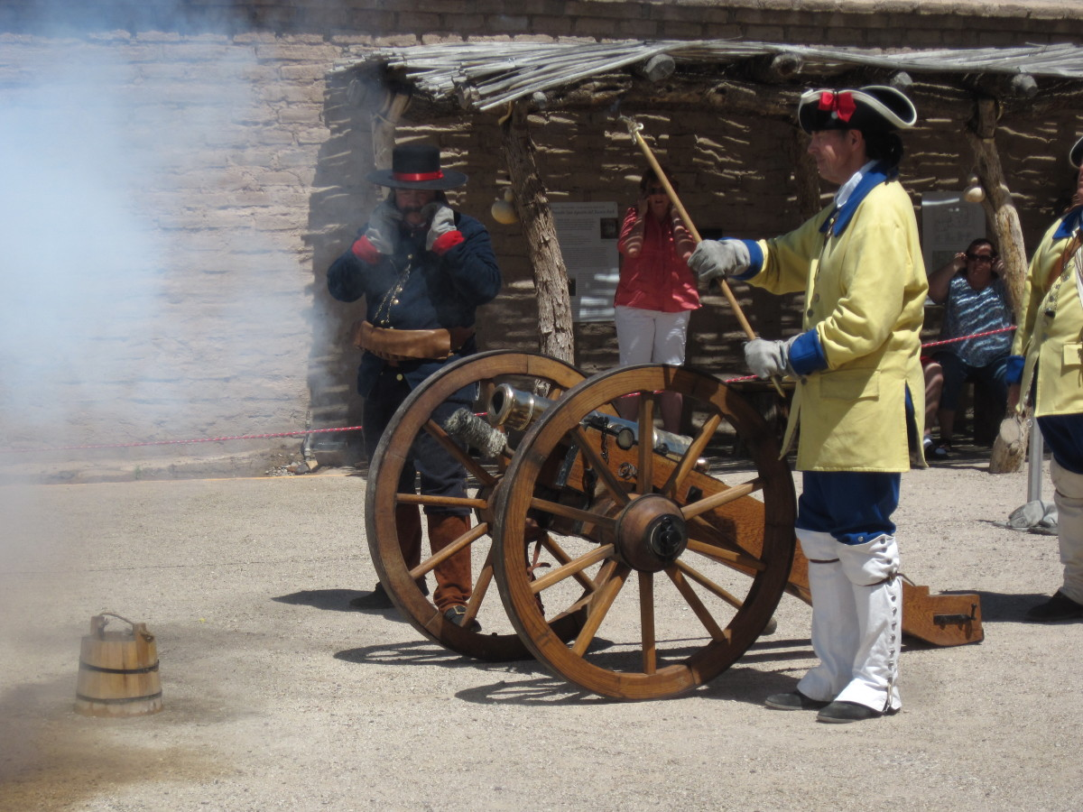 Spanish Colonial Soldier firing canon at Presidio of Tucson