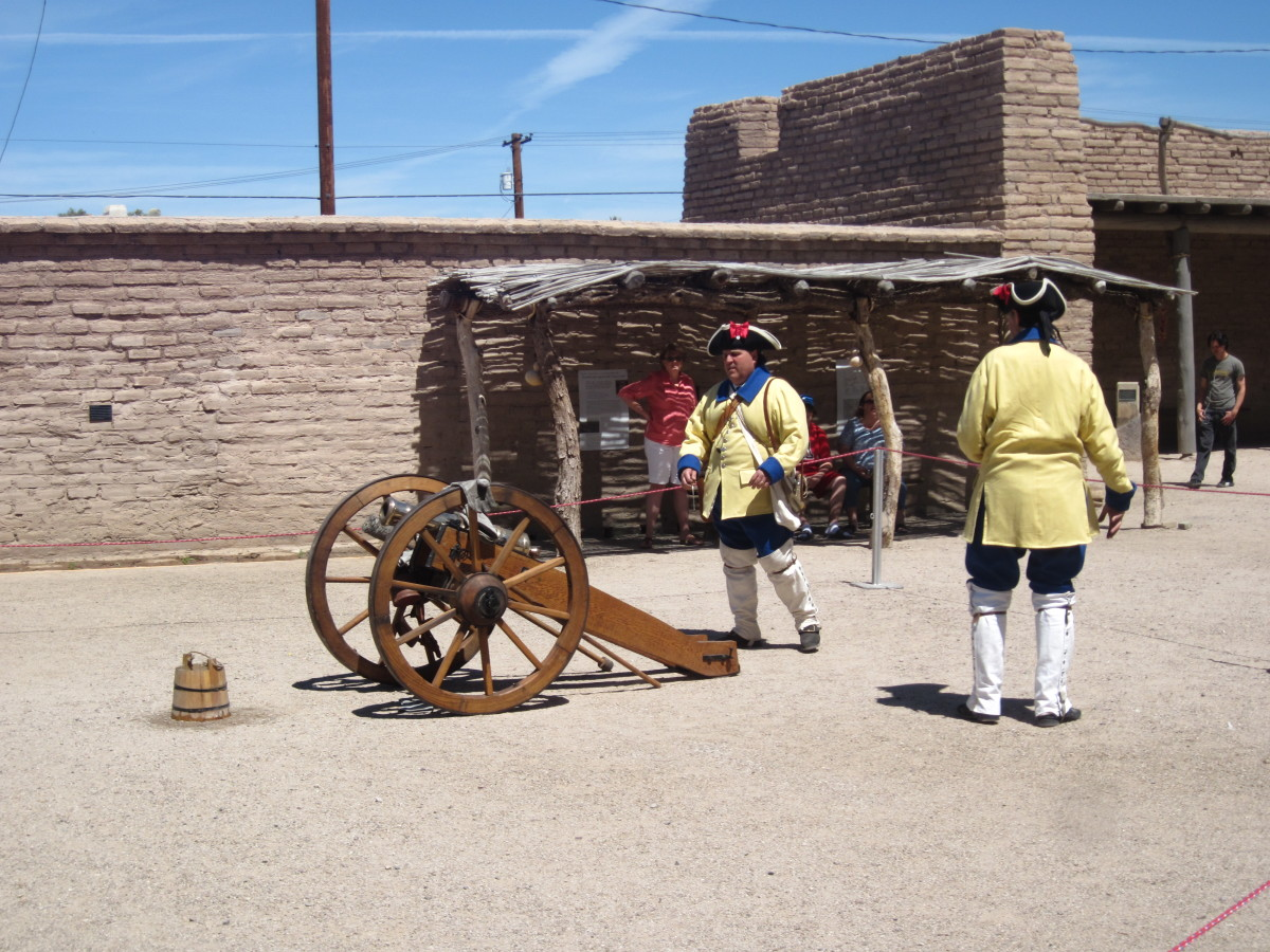Spanish Soldiers manning a canon in Presidio at Tucson, Arizona