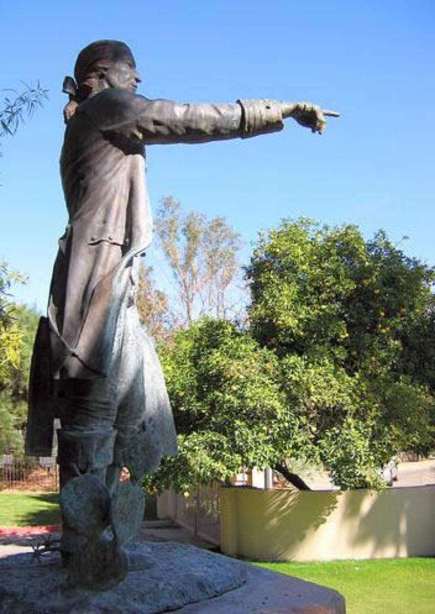 Statute of Tucson Founder, Hugo O'Connor, in Front of Manning House in Tucson, AZ