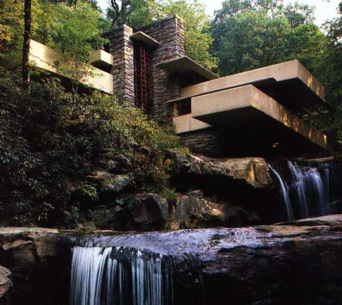 "Famed architect Frank Lloyd Wright's ""Fallingwater"" design utilized the feng shui concepts of wind meeting water"