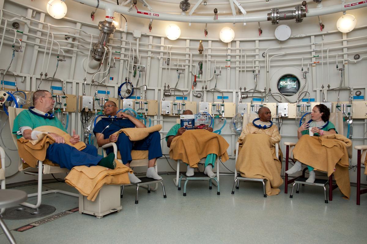 David Grant USAF Medical Center - Hyperbaric Medicine Department. Several practitioners use the HBOT room.