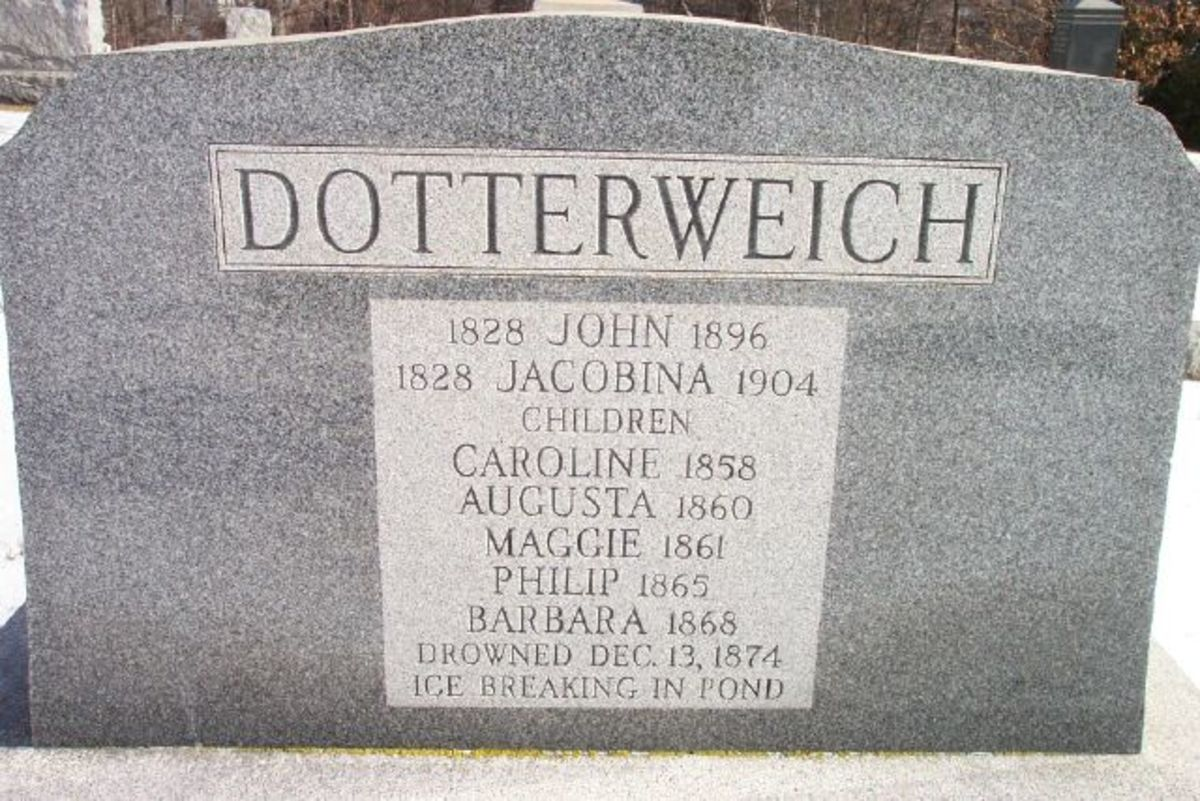 """Children of John & Jacobinn Dotterweich, who were all drowned at the same time, in the presence of their agonized parents, who were unable to save them, by braking the ice."""