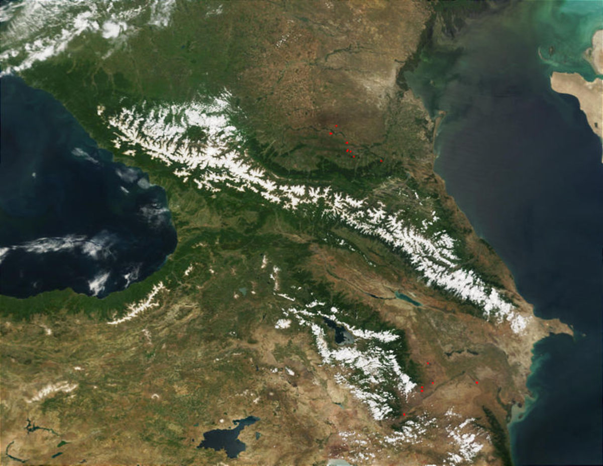 The Caucasus Mountains seen from the sky.