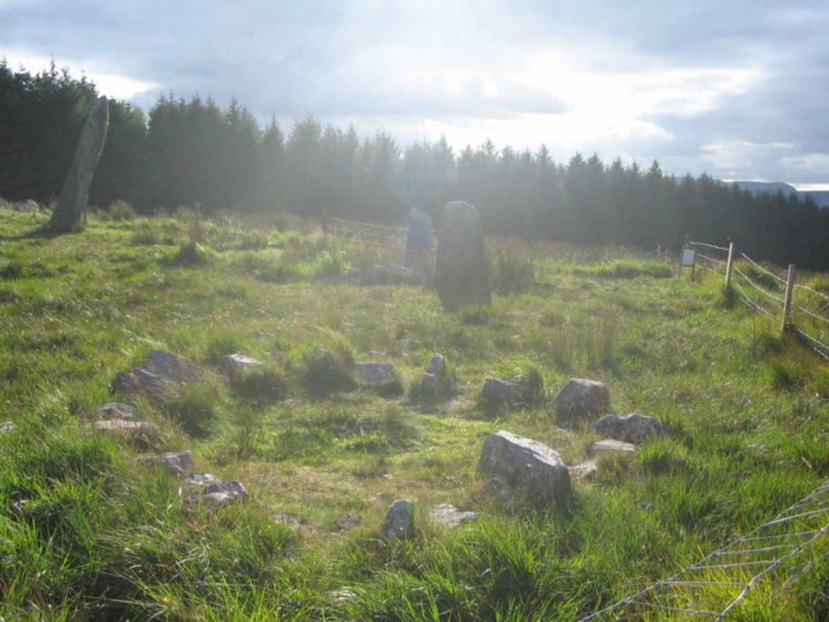 Stone circle at the Knocknakilla complex, County Cork, Ireland