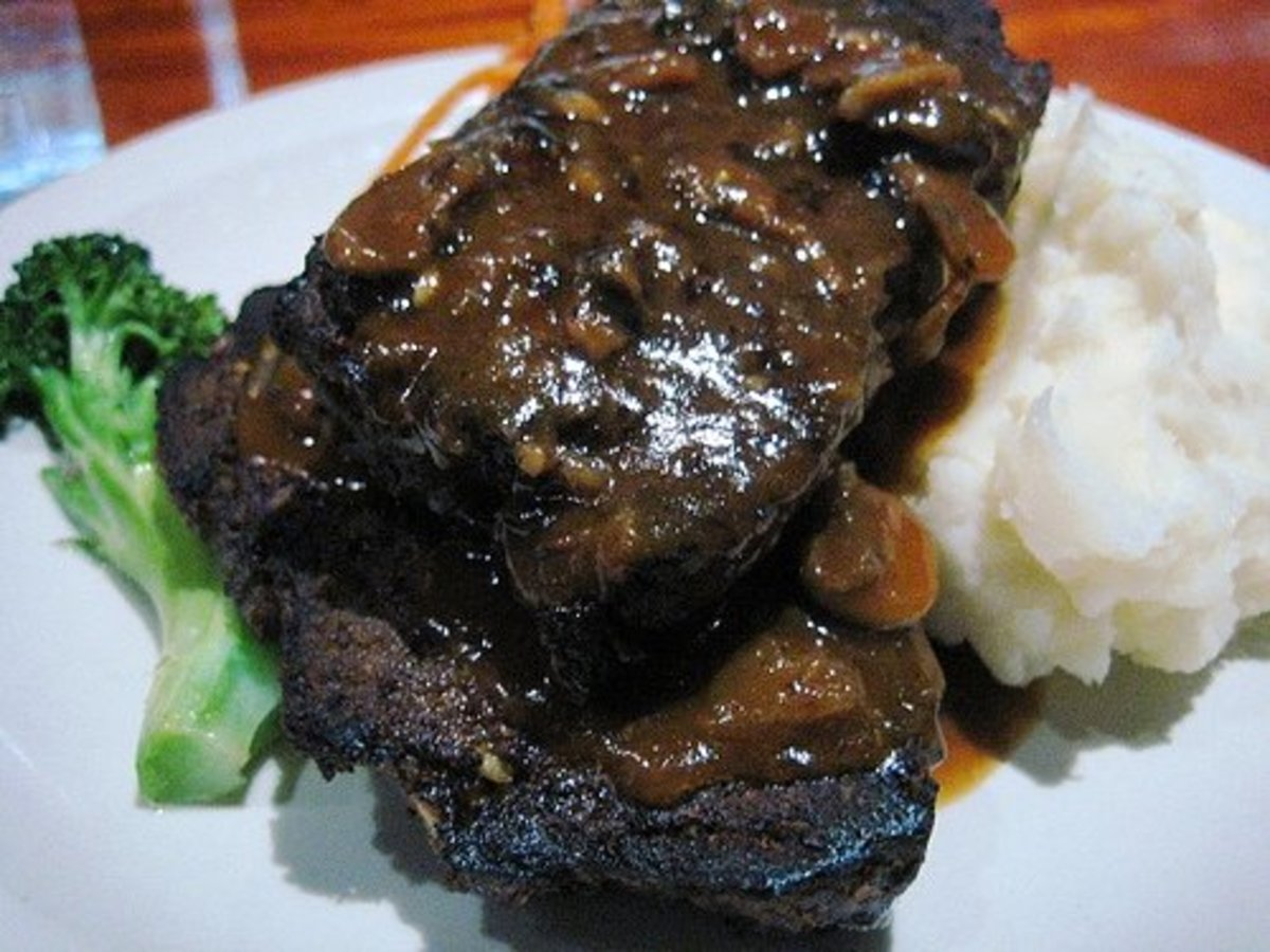Meatloaf is often served with mashed potatoes and gravy.