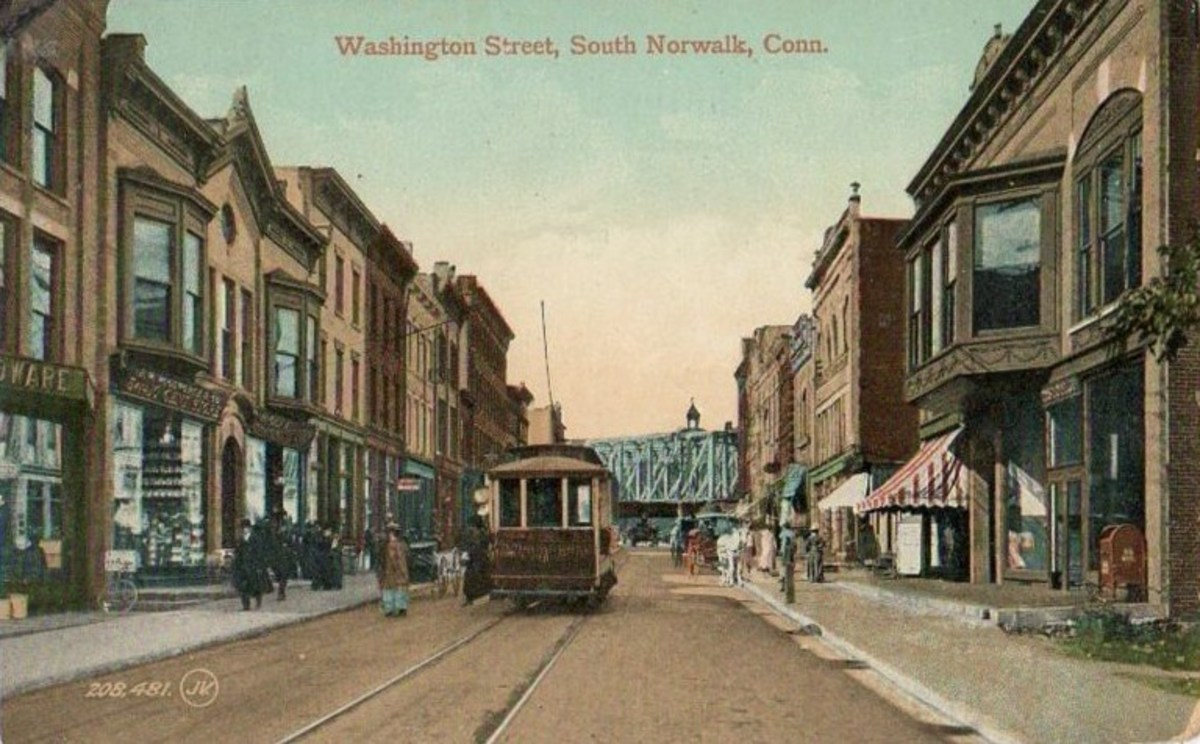 A postcard image circa 1910 of Washington Street, South Norwalk, Connecticut, where I moved to from Yonkers in 1952. Norwalk's trolleys were long gone by then. Yonkers trolleys were replaced by buses in late 1952.