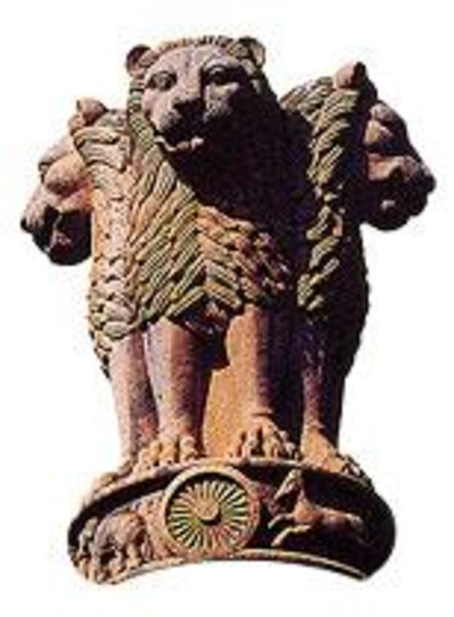 Fig.2 Lion capital of Asoka Pillar. The wheel seen at the base of the capital was thew model for the wheel on Indian Flag