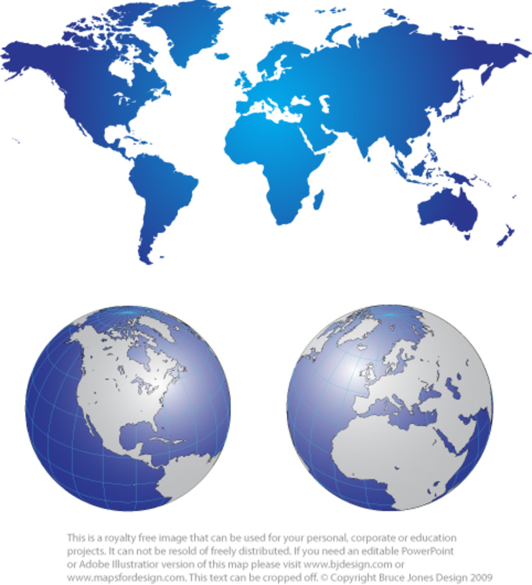 Combo graphic with a gradated World Mercator Projection Map in shades of blue, plus two Global projections below, North America and Europe with Africa, and Middle East. The maps are done in shades of blue and gray.