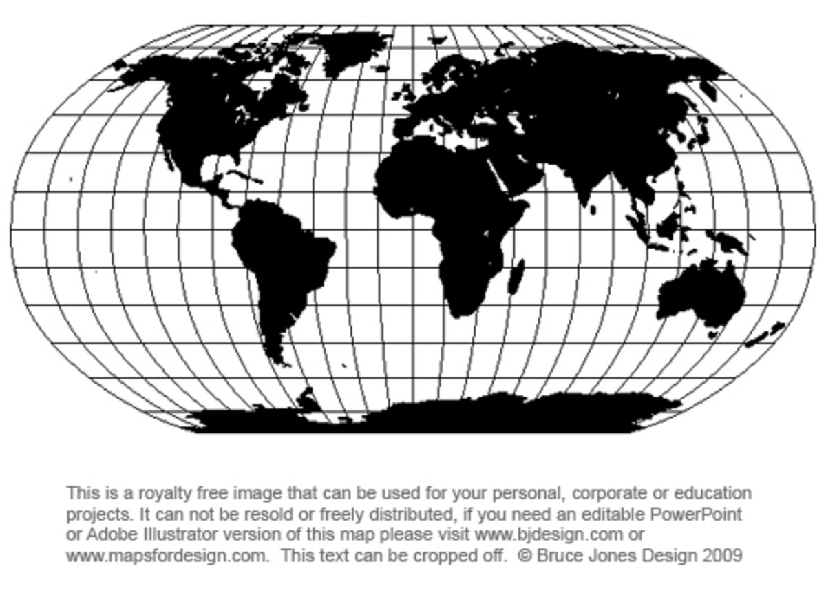 There are two main projections used for graphic map images. Mercator and Robinson. This is the Robinson map projection and is a projection that shows the entire world at once. It is seen as a fair compromise to showing the world as a flat projection.