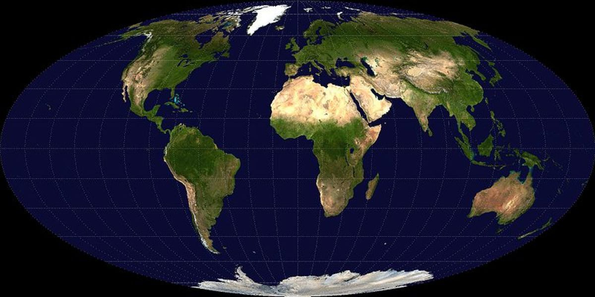 This is a Mollweide projection of the world. The maps is built from images collected by the Earth Observatory and NASA. This image is in the public domain.