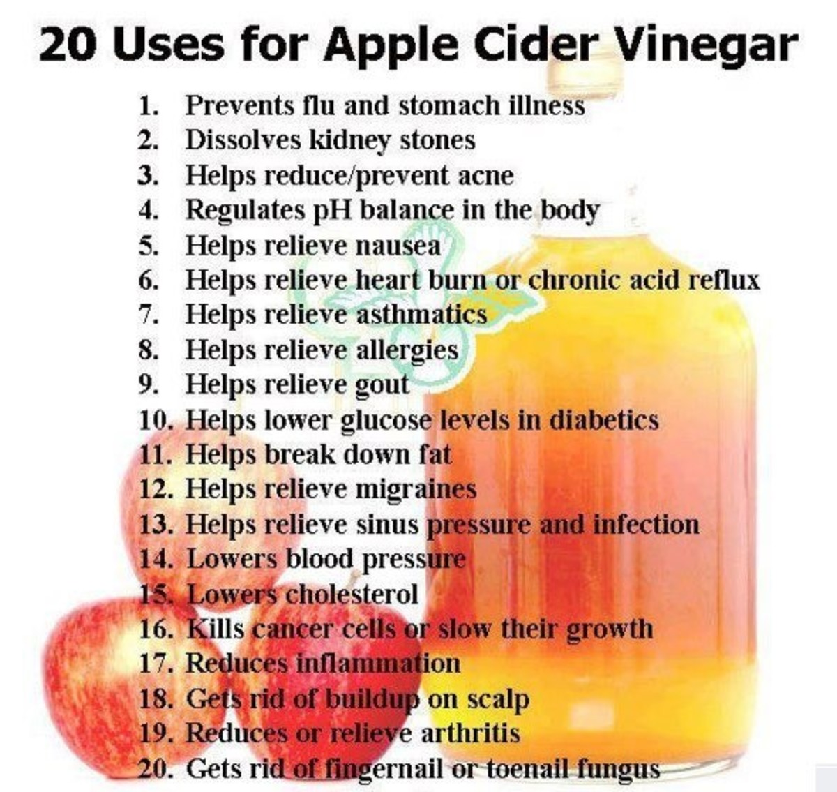 In this photo are 20 wonderful uses for Apple Cider Vinegar.