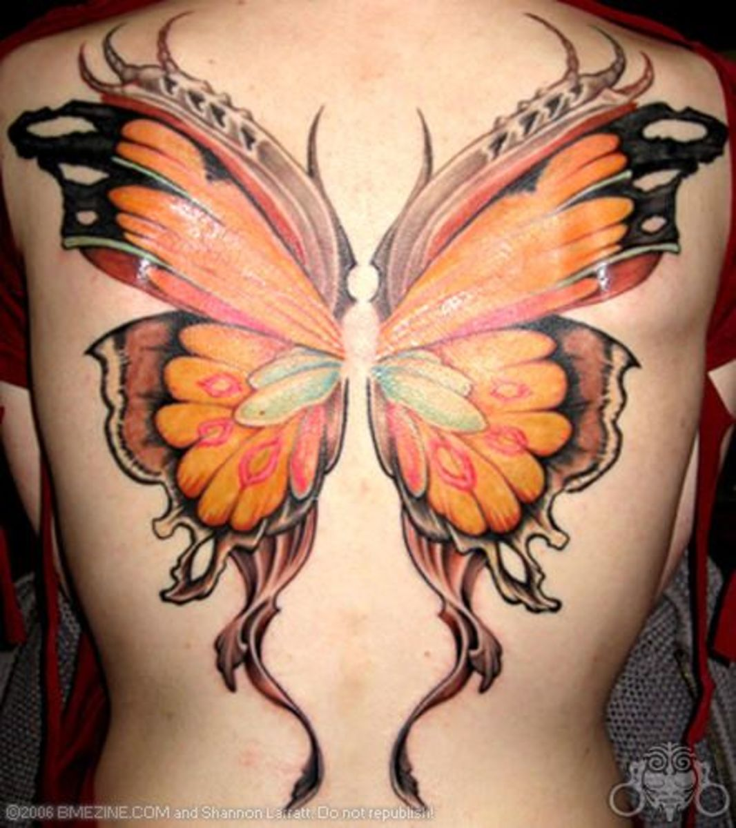 Full Back Body With Butterfly Tattoo Designs