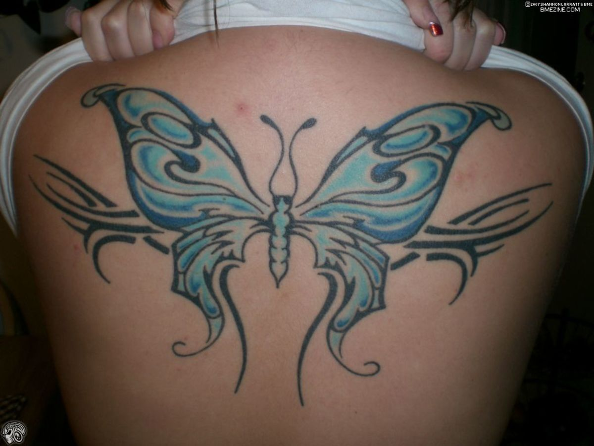 Butterflies and butterfly wings are one of the most popular choices in tattoo design