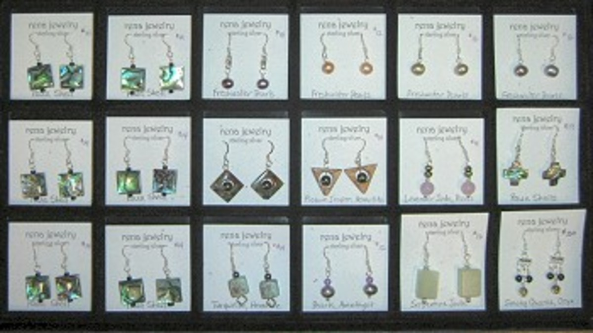 An easy way to show jewelry to a shop or gallery owner - in a stacking jewelry tray with a compartmentalized tray liner.