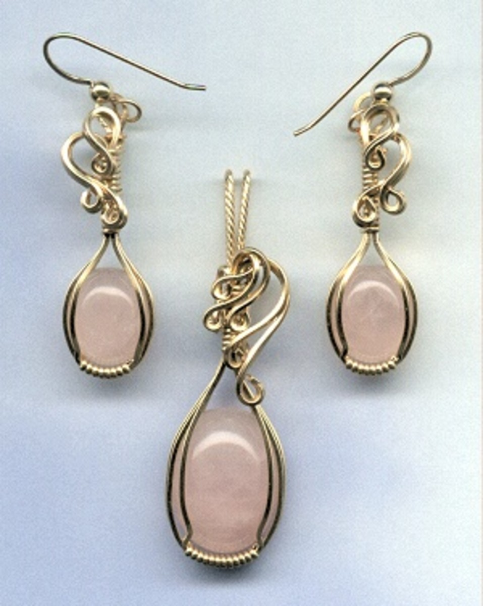Rose quartz and 14k goldfill wire pendant and earring set, photographed using a scanner.