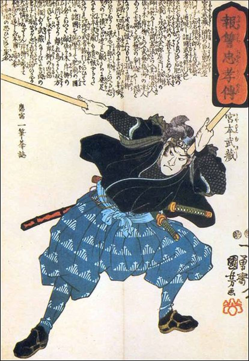 Musashi Miyamoto with two Bokken (public domain). A variety of weaponry is avaiable across the martial arts. Care and age limits are wise in choosing these for your child, male or female.