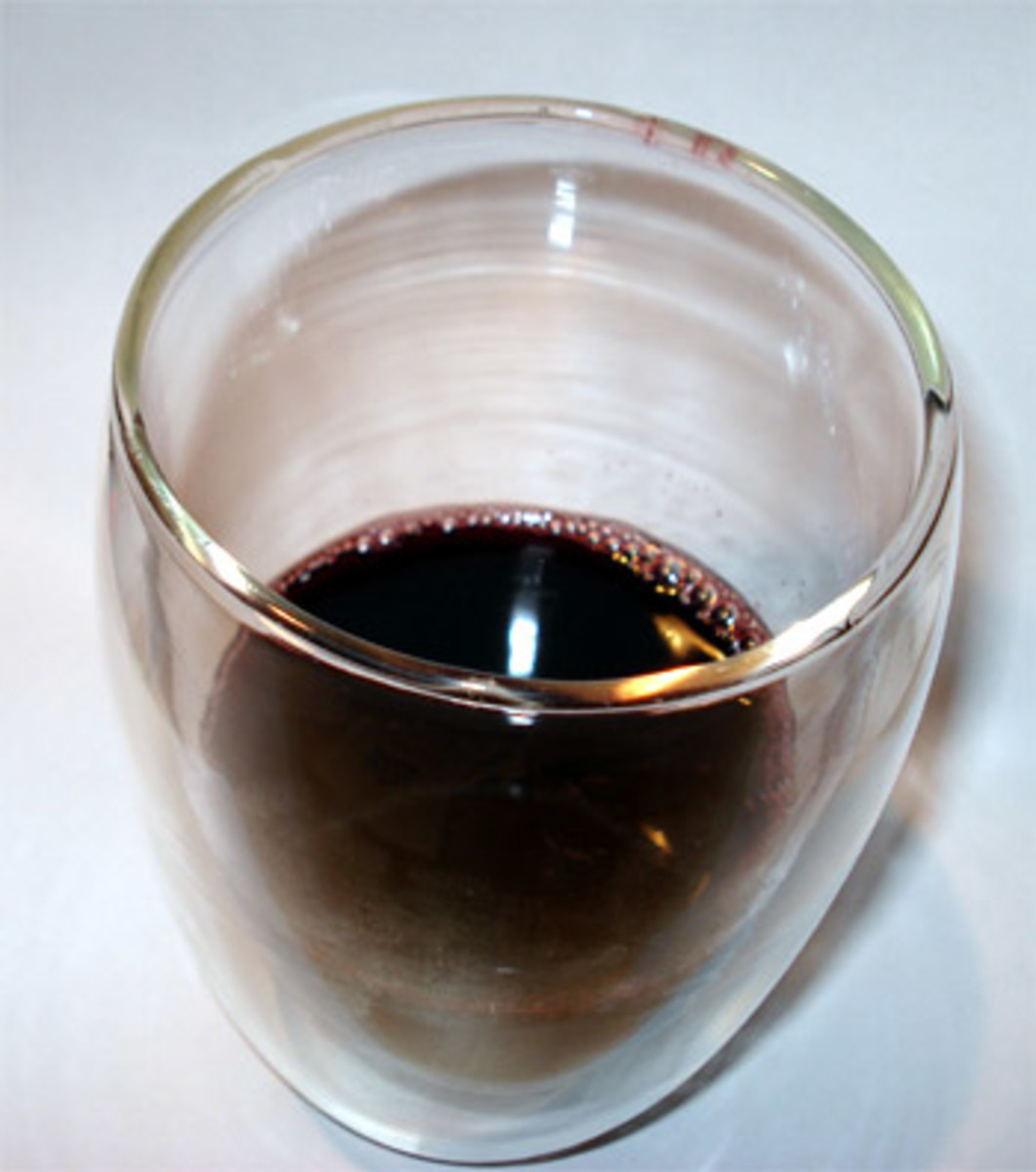 Aronia berry juice - notice the dark purple color