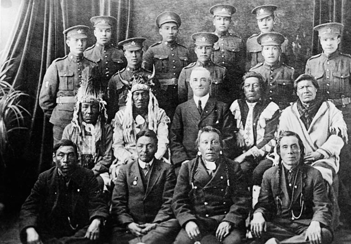 Canadian Expeditionary Force: First Nations Elders & Soldiers.