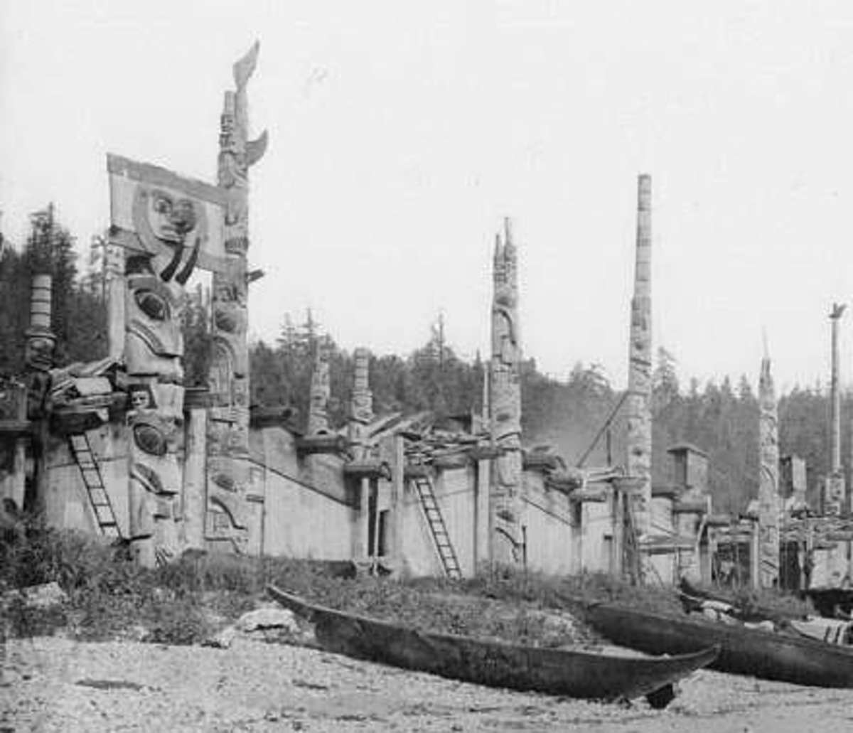 Haida Dwellings. Canadian public domain photo of 1878 by George Mercer Dawson (1849 - 1901).