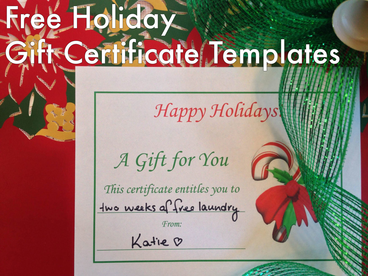 Scroll down to download the free holiday gift certificates.