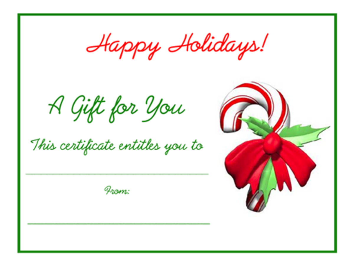 Candy cane Christmas free printable holiday gift certificate blank