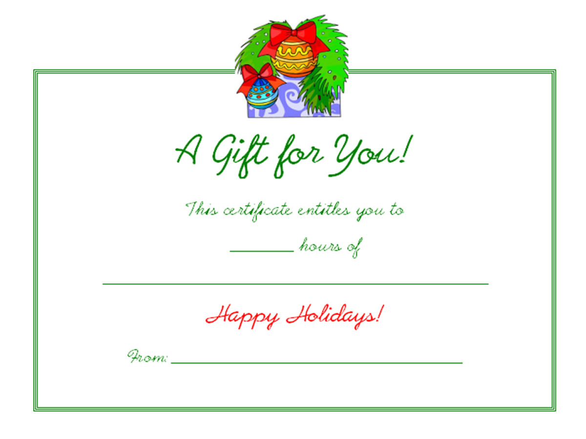 Free Holiday Gift Certificates Templates to Print – Free Holiday Gift Certificate Templates