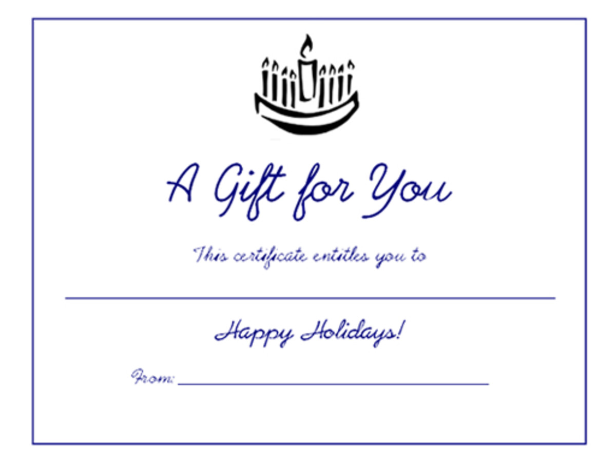 Free holiday gift certificates templates to print hubpages free blank printable hanukkah menorah holiday gift certificate yelopaper Images