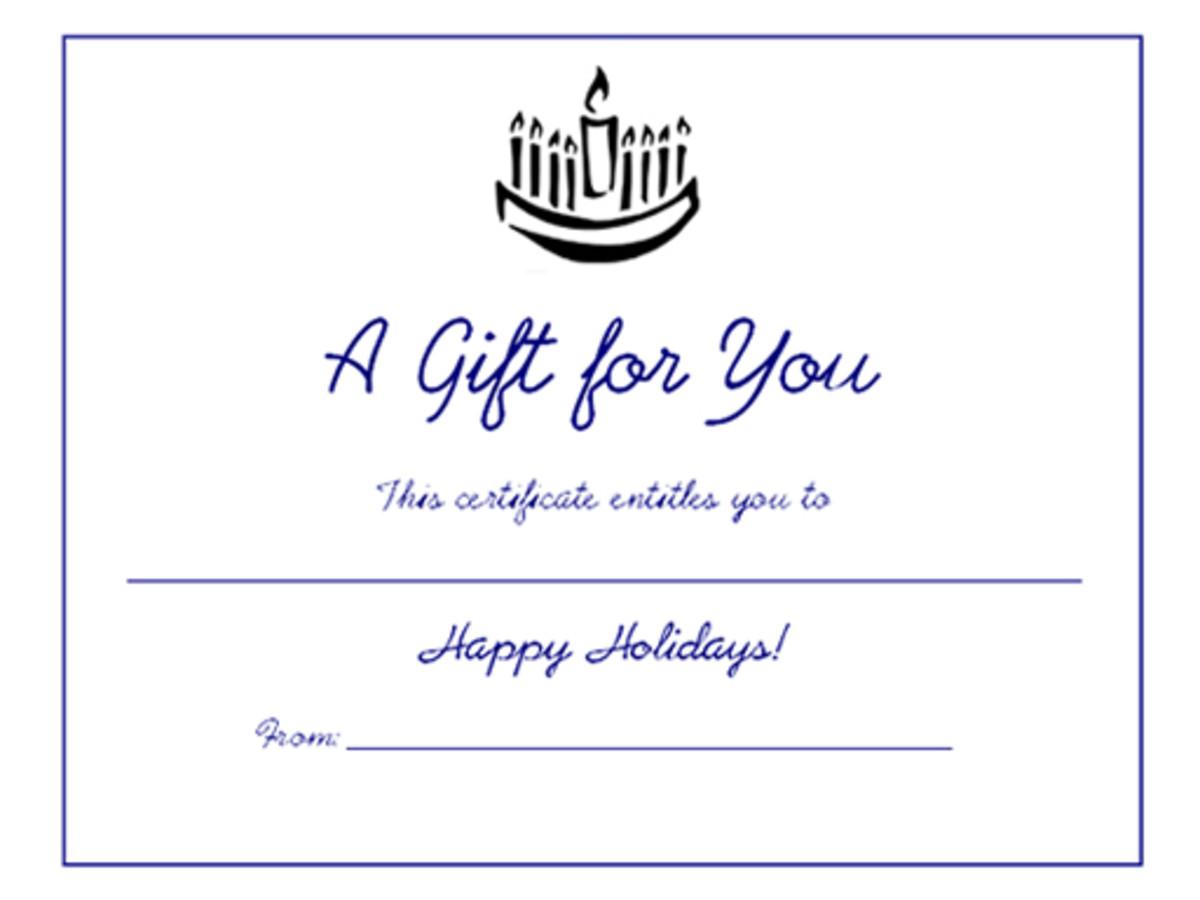 Free blank printable Hanukkah menorah holiday gift certificate.